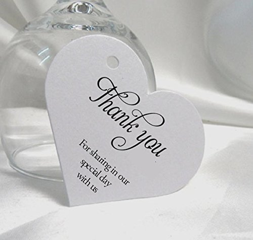 50 heart shape wedding favours gift tags with white ribbon thank
