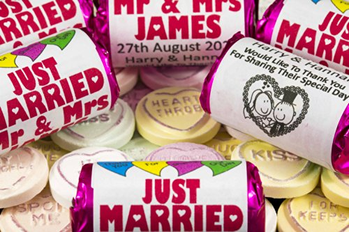 100 Love Hearts Sweets Personalised Wedding Favours Each Pack Roll Contains Seven Heart Mini Packs Just Married Mr And Mrs